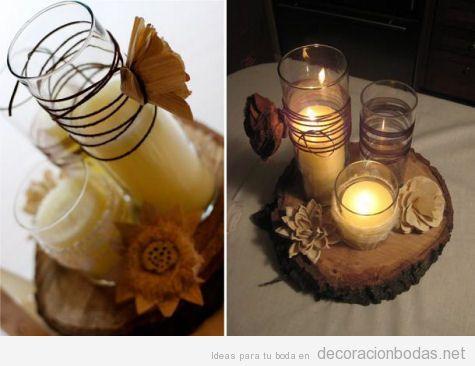 Centro de mesa de bodas con velas flores secas, estilo vintage