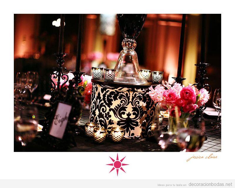Decoración de mesa de recepción en bodas, negro y marfil