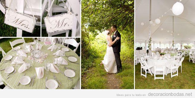 Decoraci n en blanco de bodas en jard n con carpa for Arreglos de mesa para boda en jardin