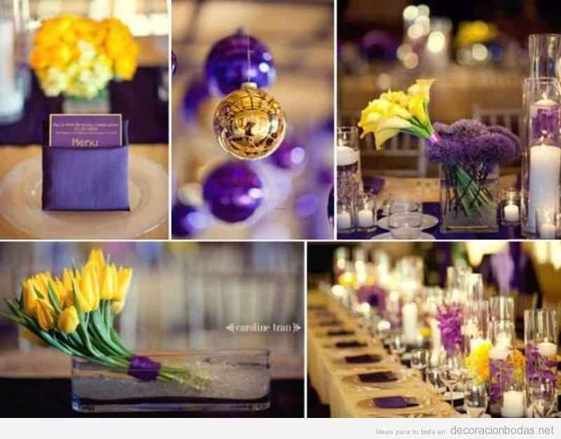Decoración de salón de boda en color morado y amarillo