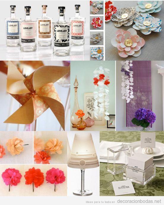 Detalles bonitos y baratos para decoración de bodas