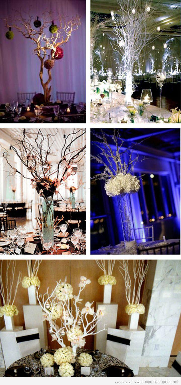 Decoración de centros de mesa en bodas con jarrones y ramas árboles secas