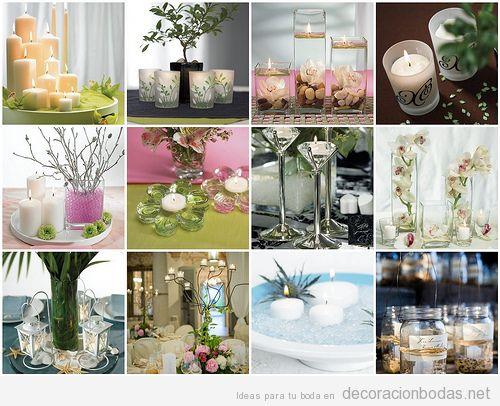 Decoración de mesa de bodas con velas y candelabros, ideas