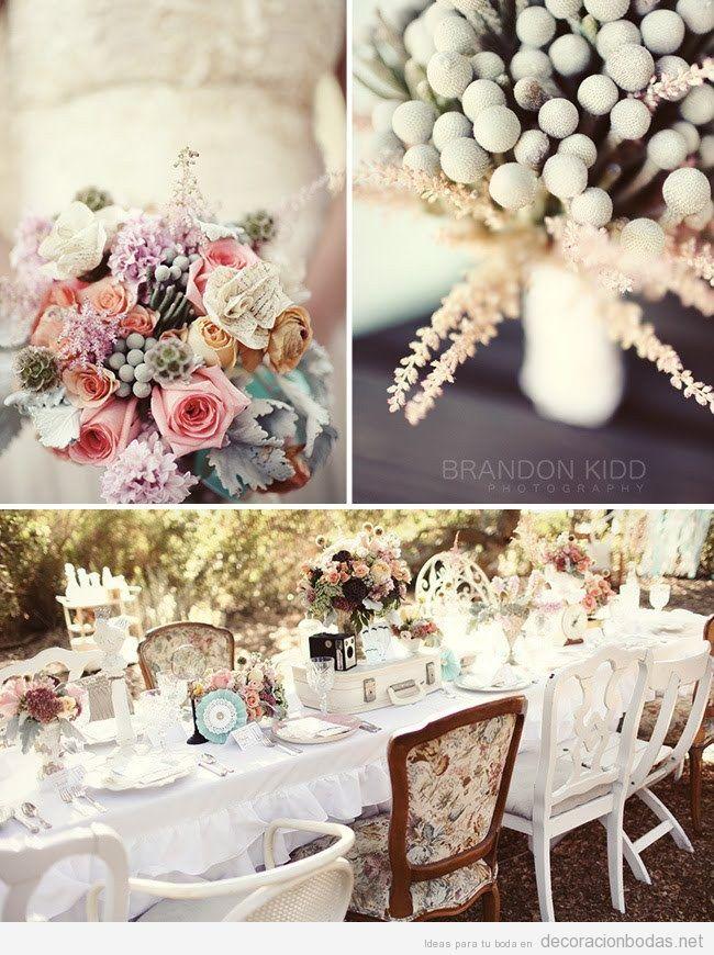 Mesa y flores, decoración de boda vintage en jardín