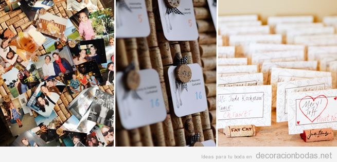 Números de mesa de bodas y nombre invitados con corchos de vino