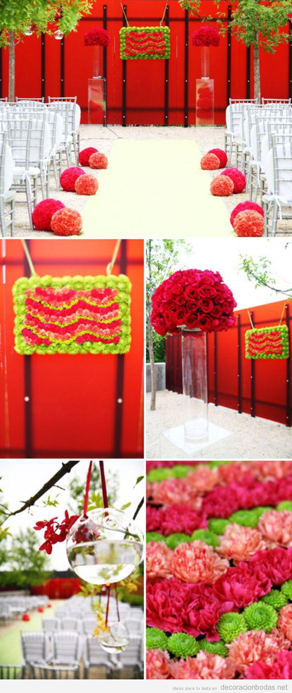 Ideas decoración de bodas con pompones de rosas
