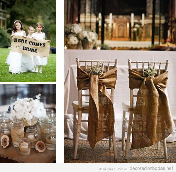 Decorar una boda campestre con tela de saco