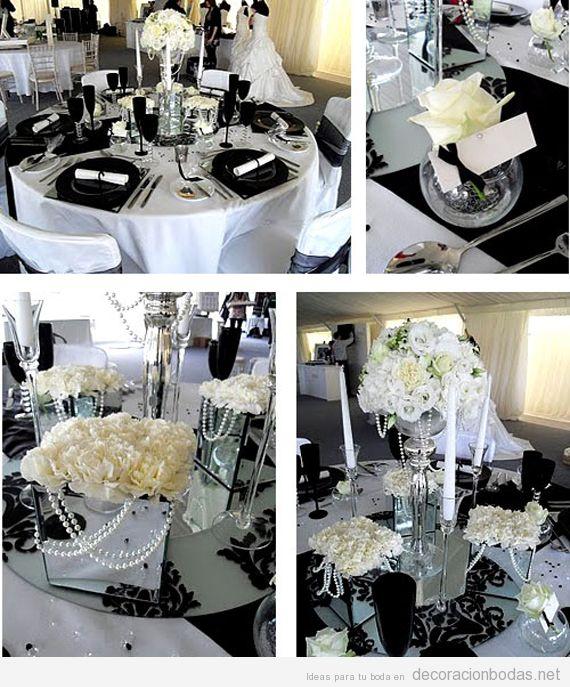 Decoración de mesa de boda en colores negro y blanco
