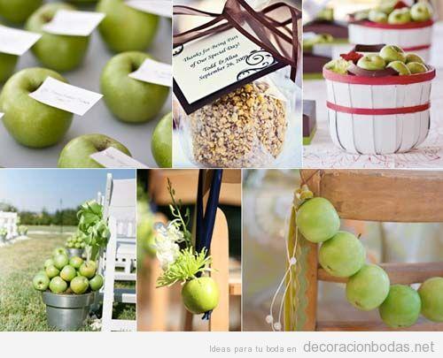 Decoración de boda con manzanas verdes, idea original