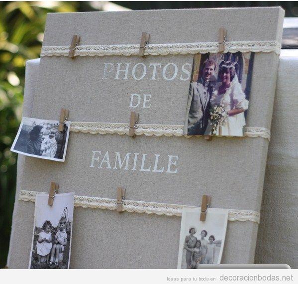 Tablero de estilo vintage con puntillas para poner fotos de familia en tu boda
