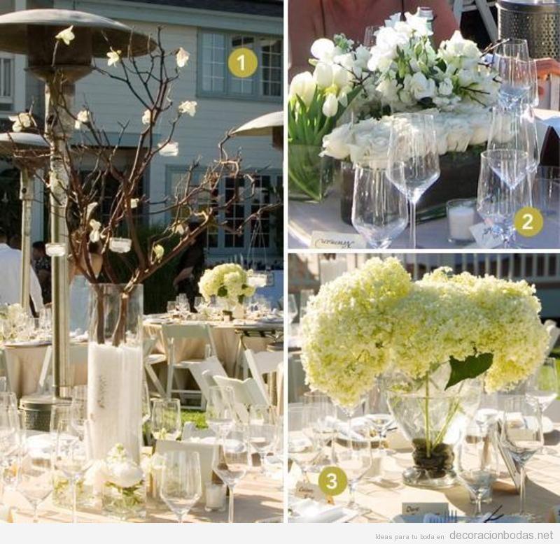 Centros de mesa flores y ramas, estilo moderno, para decorar boda aire libre