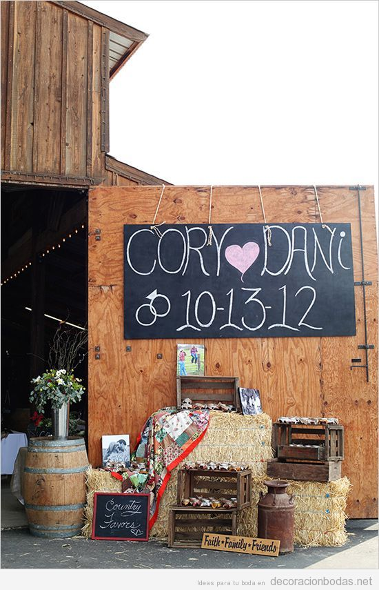 Detalles decoración para una boda campestre o rústica