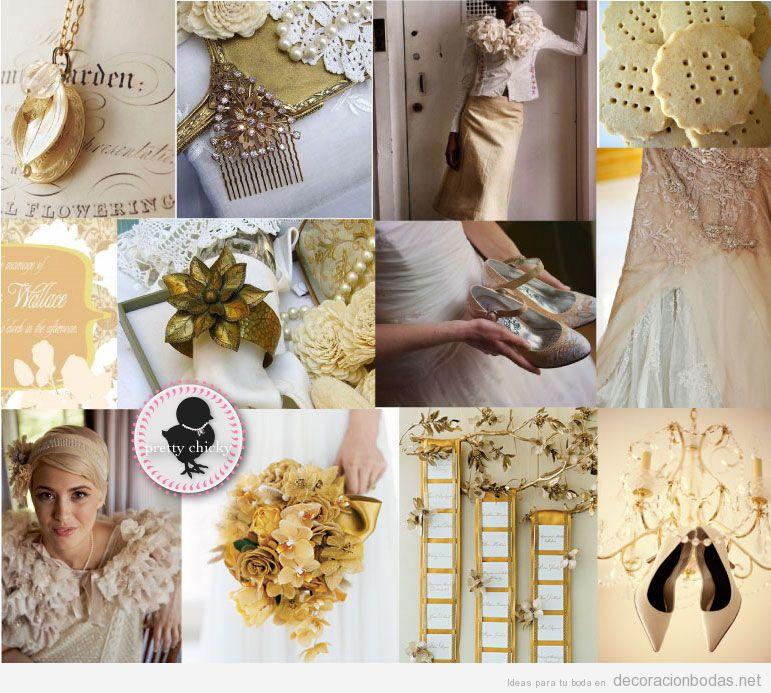 Decoración de boda vintage en dorado y blanco