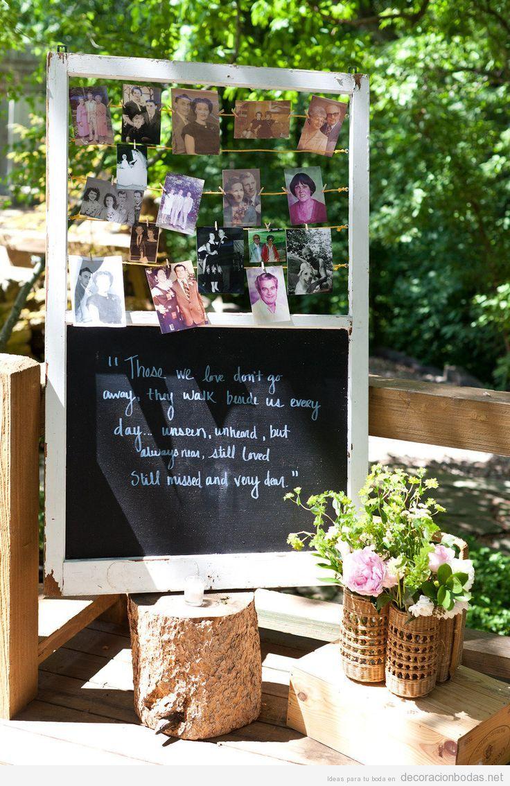 Detalle original en una boda con fotografías familiares