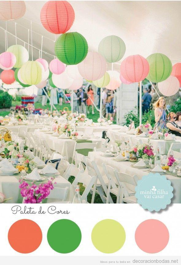 Decoración de boda con naranja verde, amarillo y rosa pastel