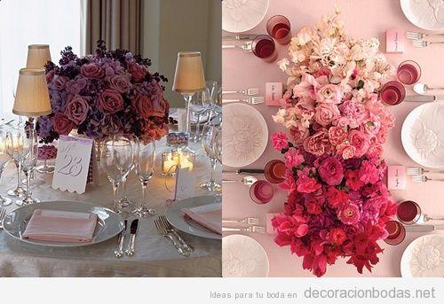 Decoración de boda, centro de mesa con rosas