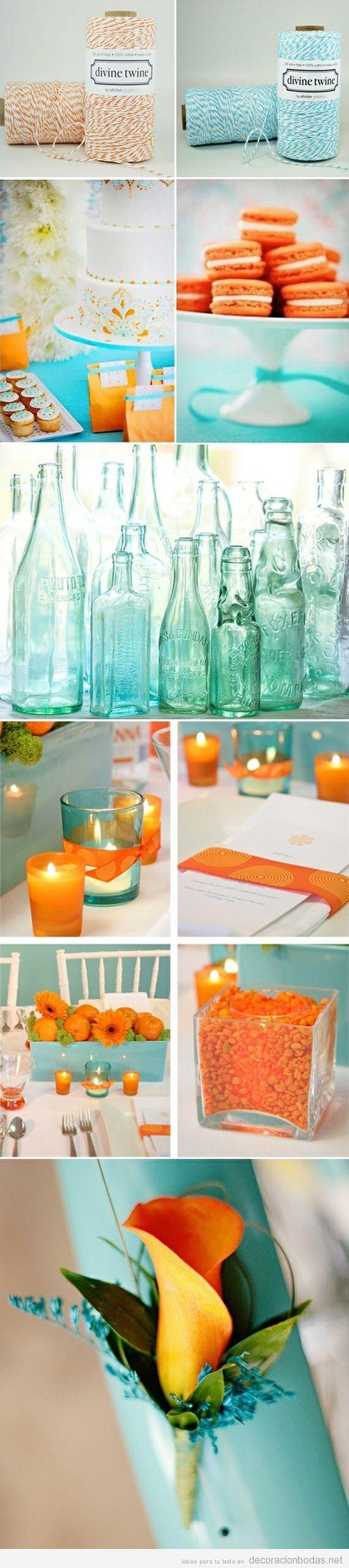 Ideas para decorar boda en azul turquesa y naranja