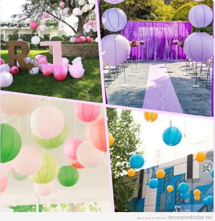 Cuatro decoraciones de boda diferentes con globos de papel for Arreglos con globos para boda en jardin