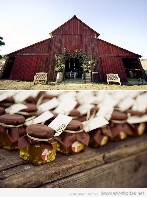 Ideas boda en un granero, detalle de regalo miel
