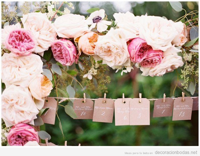 Idea vintage para decorar una boda, tarjetas con número de mesa e invitados
