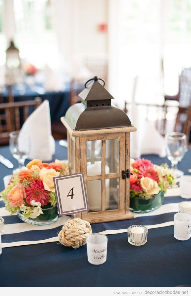 Idea decorar centro mesa boda alargada farolillo vintage for Farolillos de decoracion