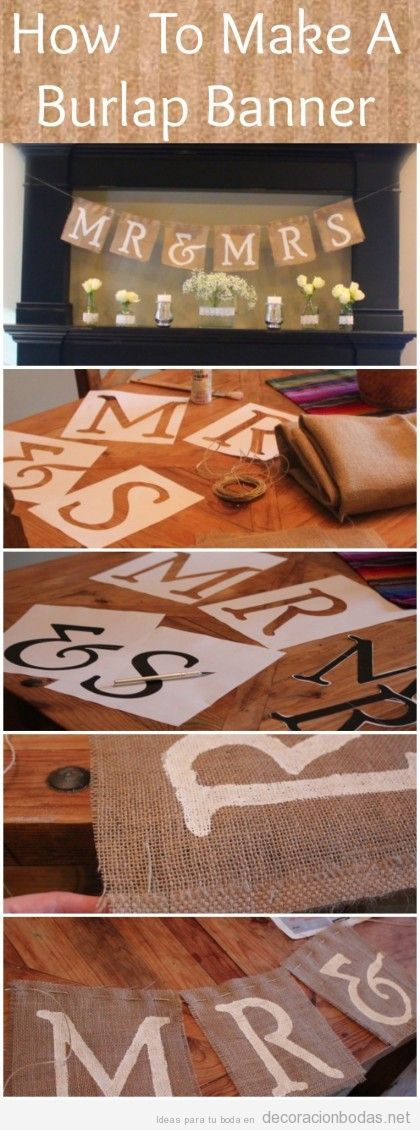 Decoración boda DIy con manualidades, pancarta de yute