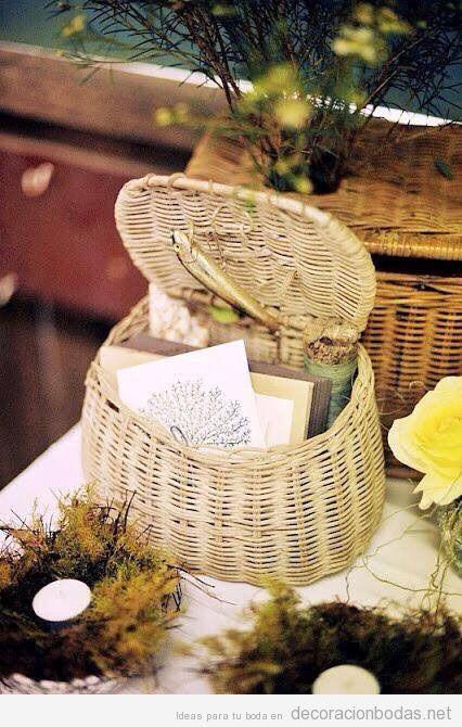 Cesto mimbre decoraci n bodas - Decoracion mimbre ...
