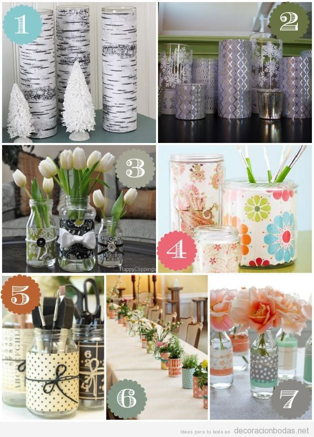 Manualidades decorar centros mesas de boda, baratas