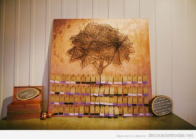 String Art con forma de árbol para decorar una boda