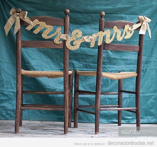 Ideas decoración boda, sillas con Mr & Mrs