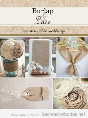 Ideas para decorar mesas boda con yute y encaje