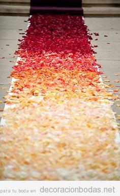 Decoración con pétalos, pasillo al altar