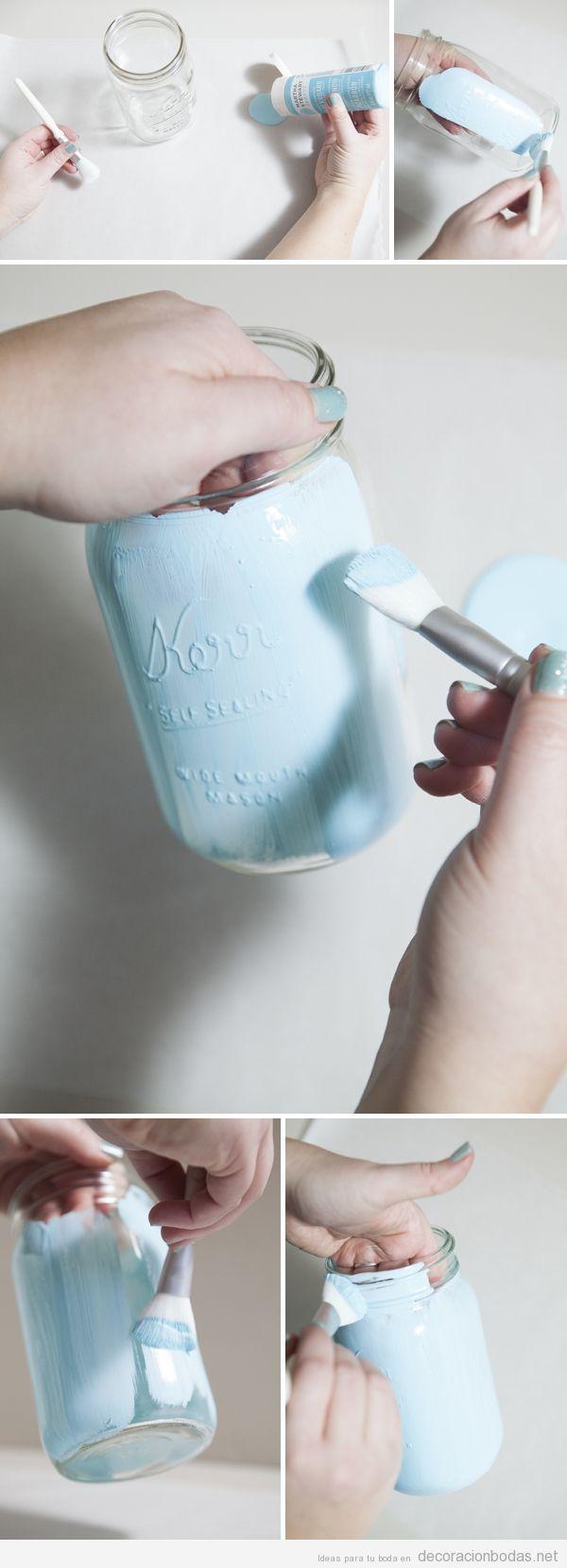 Tutorial pintar bote de cristal para decorar centro de mesa boda