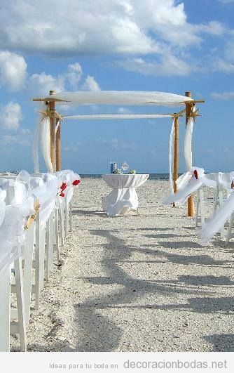 Ideas para decorar una boda en la playa en color blanco