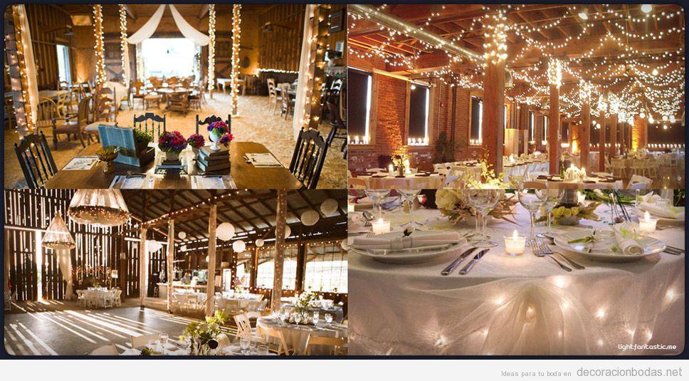 Iluminación salón de boda con lucecitas