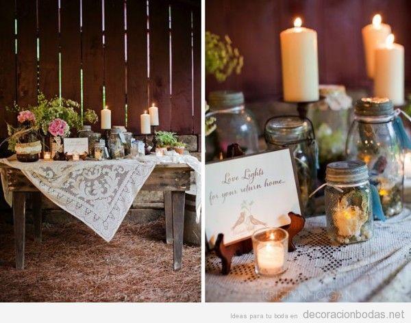 Decoración centra mesa en una boda campestre