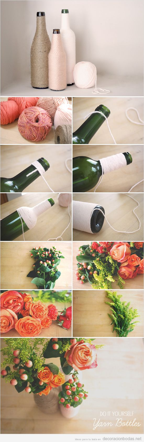 Botellas decorada con cuerda de yute o cáñamo, decoración mesa