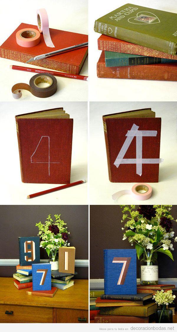 Centro mesa boda DIY con libros con números