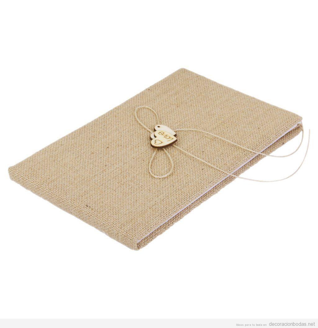 Libro firmas para invitados boda en arpillera, estilo vintage