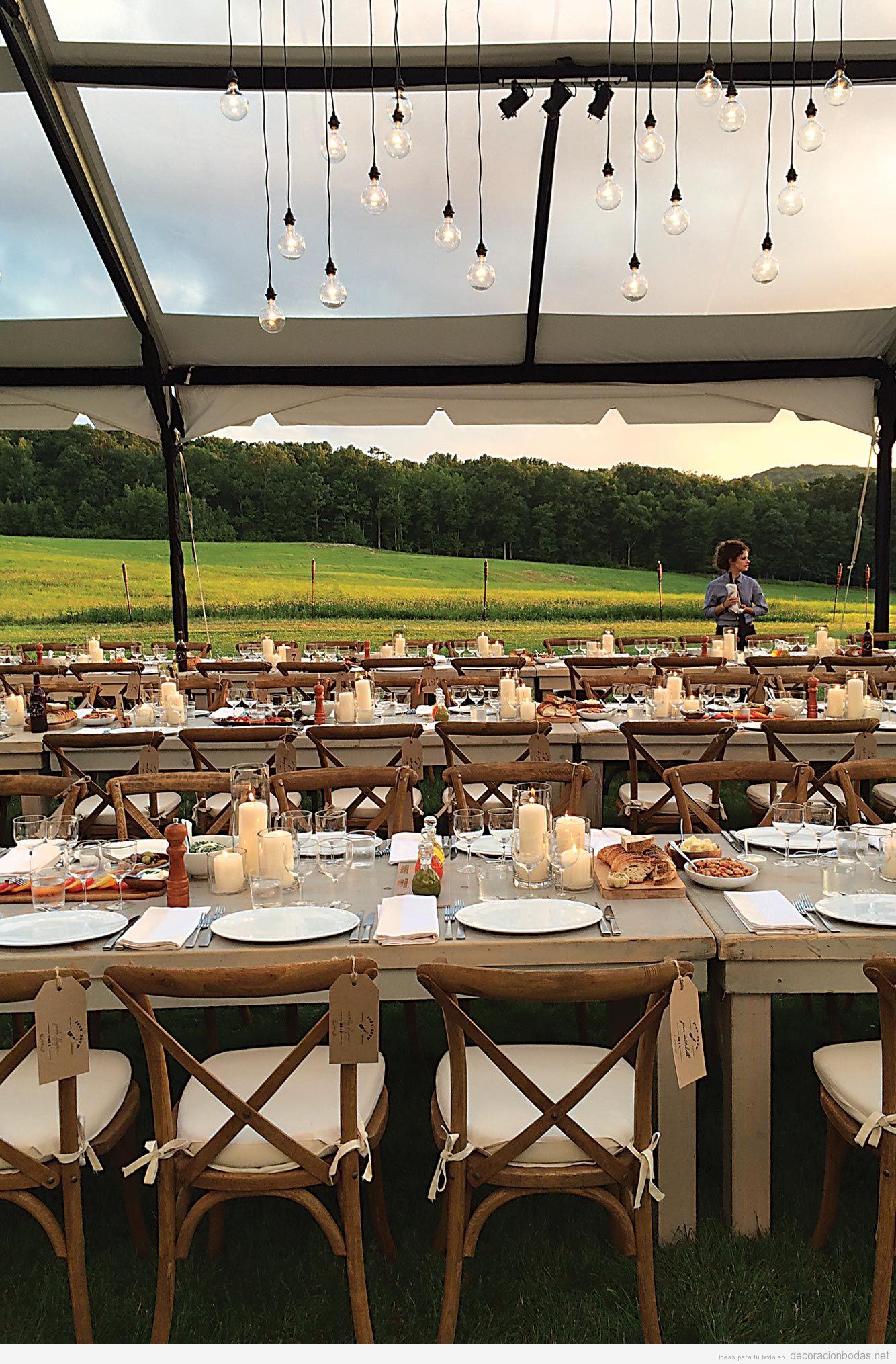 Banquete de boda en el campo con estilo vintage