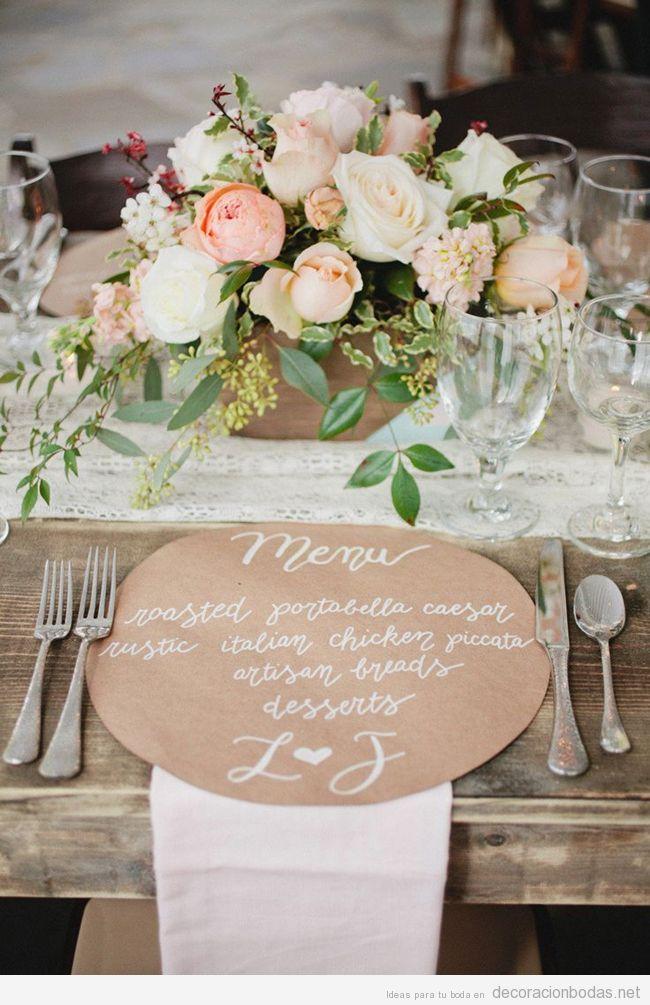 Decorar mesa invitados boda rústica y chic