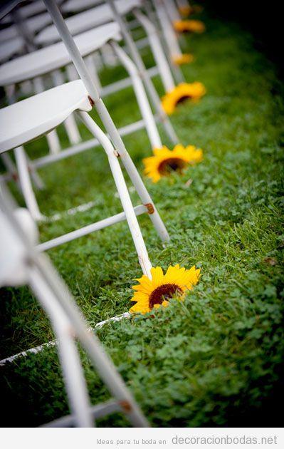 Ideas boda verano, camino al altar con girasoles