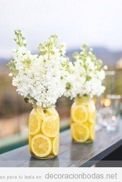 Centro de mesa perfecto para una boda en verano - Centros de mesa con limones ...