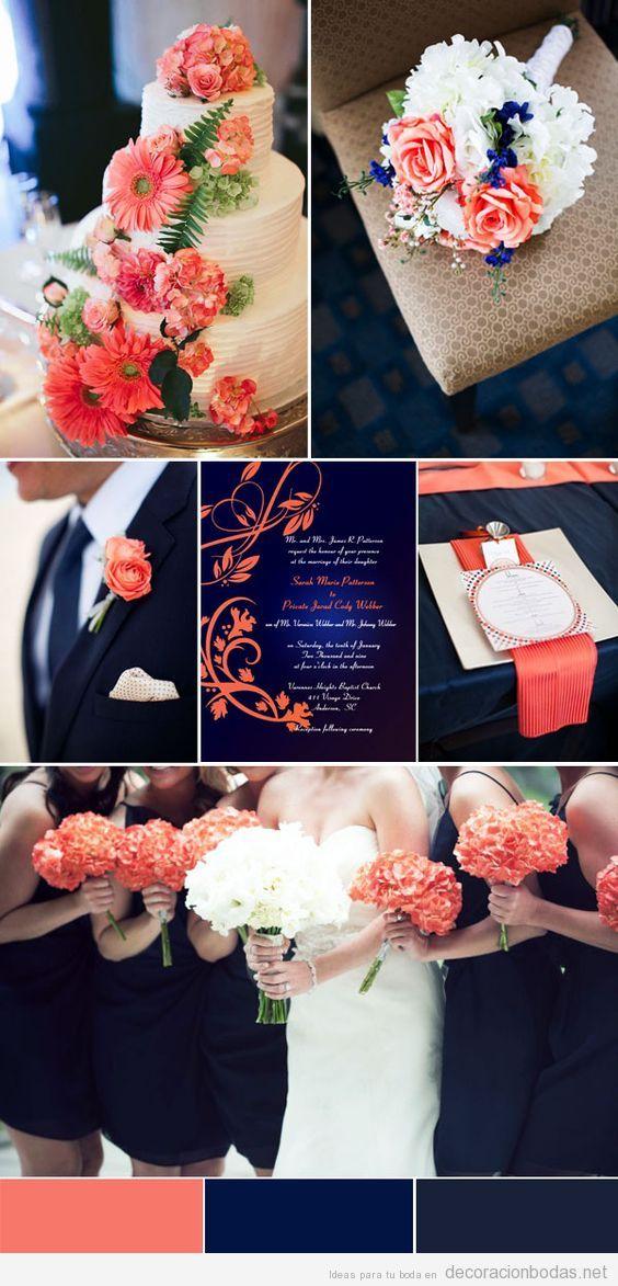 Decoraci n de boda con detalles en coral perfecto para for Detalles decoracion boda