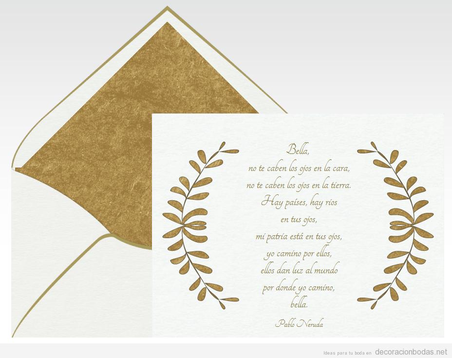 Invitación boda con poema Bella de Pablo Neruda