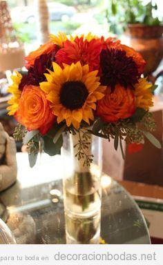 Decorar centro de mesa de boda con flores colores otoñales