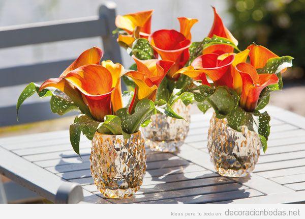 Decorar centro de mesa de boda con flores colores otoñales 3