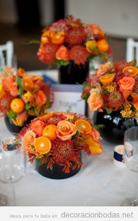Decorar centro de mesa de boda con flores colores otoñales 2