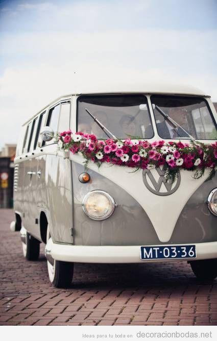 Furgoneta Volswagen antigua boda hippie