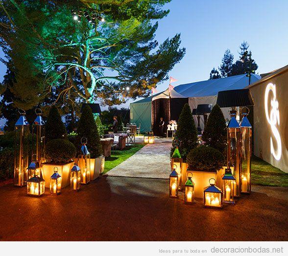 Ideas iluminar boda exterior con lámparas de pie